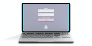 Login on a computer laptop screen isolated on white background, front view. 3d illustration
