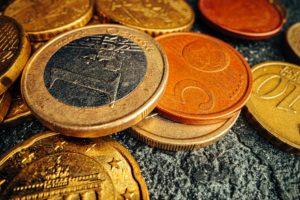 Macro photo of golden Euro cent coin